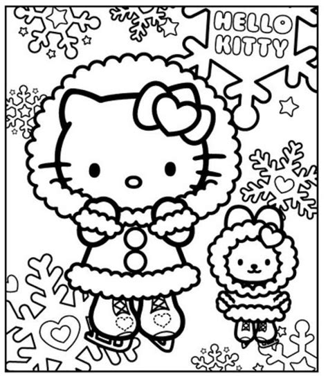 Hello Kitty in the winter free coloring pages Coloring