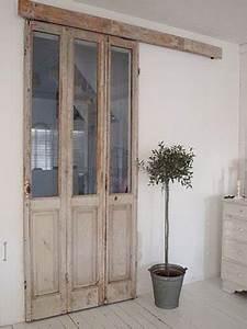 porte fenetre patinee a recycler en cloison coulissante With porte fenetre coulissante bois