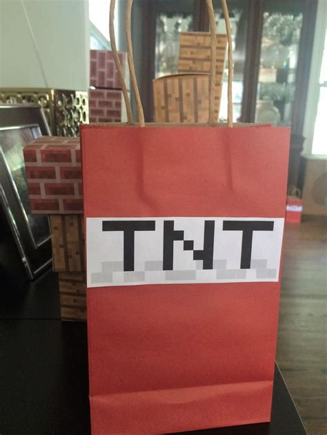 diy minecraft tnt gift bags   red bags  dollar