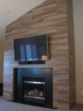 fireplace wood tile  living room fireplace  add warm colour   room    white