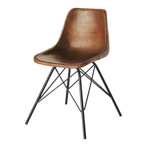 chaise en cuir leather and metal industrial chair in brown austerlitz
