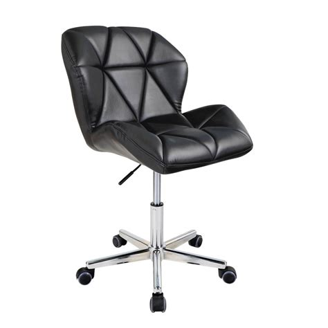 black modern uranus padded swivel faux leather computer