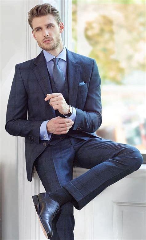 navy  piece suit combo   light blue shirt blue silk