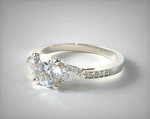 Three stone pear and pave set diamond engagement ring for Three stone wedding ring set