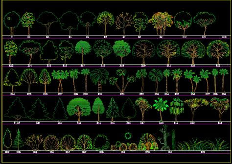 trees elevation  autocad  cad   mb