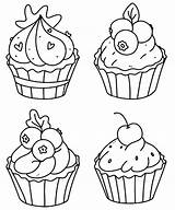 Coloring Cupcake Cupcakes Outline Premium Muffins Doodle sketch template