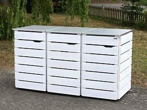 Mülltonnenbox Holz Anthrazit : 3er m lltonnenbox holz edelstahl deckel f r 120 l 240 l m lltonnen farbe deckend wei ~ Whattoseeinmadrid.com Haus und Dekorationen