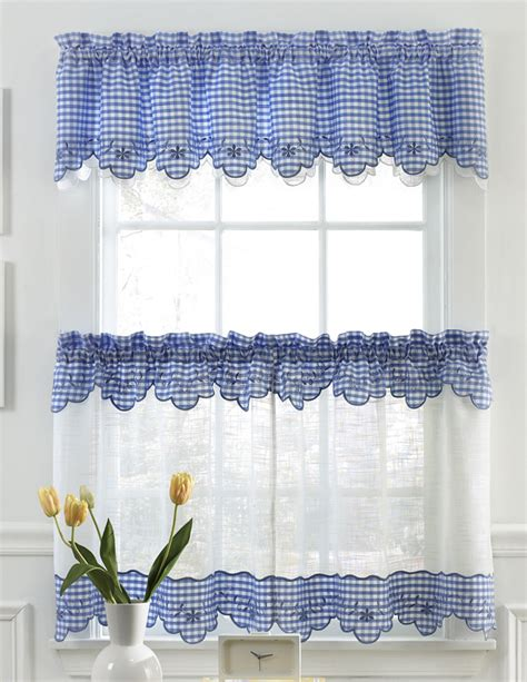 Kitchen Valance Curtains by Provence Kitchen Curtains Blue Lorraine Sheer