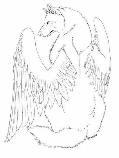 Coloring Wolf Winged Line Ctr Wings Drawing