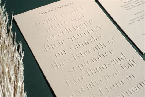 blind embossed wedding invitation alex yeske presshaus