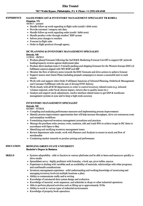 Resume Inventory Management by 12 13 Inventory Specialist Resume Sle Ripenorthpark