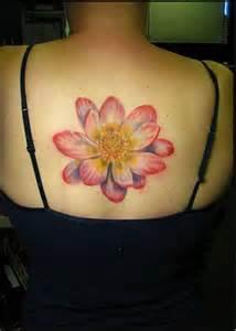 Lotus Flower Tattoo On Upper Back