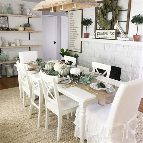 Farmhouse Dining Room Decorating Ideas by Farmhouse Dining Room Fall Decor Ideas Home Bunch