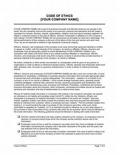 code of ethics template sample form biztreecom With company code of ethics template