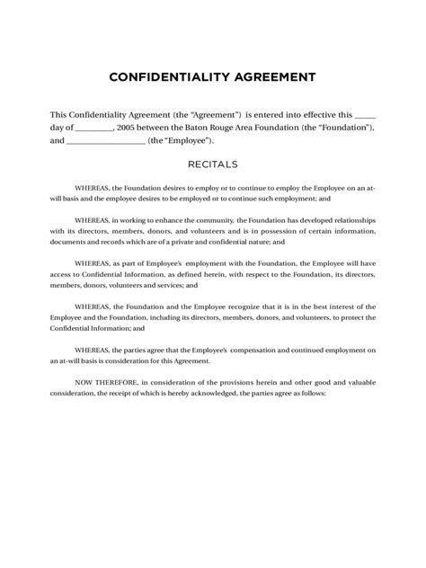 Confidentiality Agreement Template Confidentiality Agreement Template 11 Free Templates In
