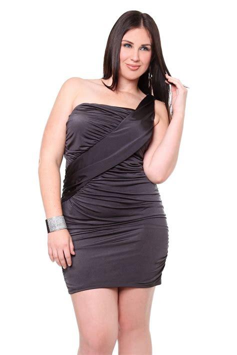 Plus Size Club Dresses Grey One Shoulder Plus Size Club