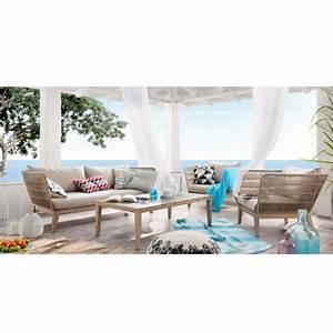 canape de jardin 3 places en bois et corde belleny by With canapé 3 places pour deco contemporaine