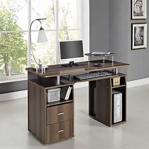 Pc, Table, Home, Office, Work, Station, Computer, Desk, Dark, Walnut, Furniture, New