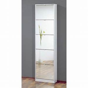 commode meuble a chaussures blanc avec 5 abattants With meuble a chaussure avec miroir