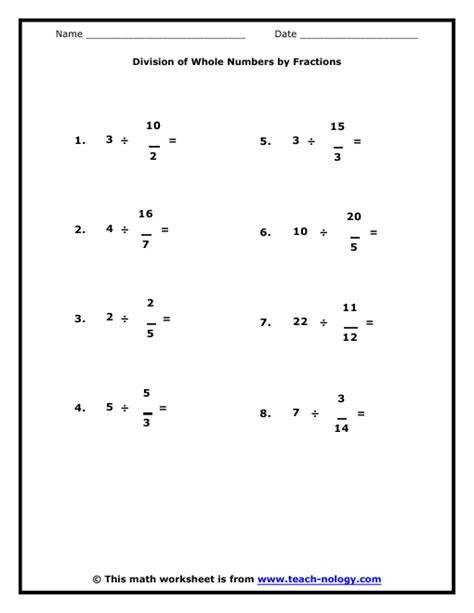 Dividing Whole Numbers By Fractions Worksheet Worksheets For All  Download And Share Worksheets