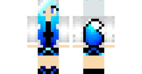 minecraft skin blue haired hoodie fox girl minecraft