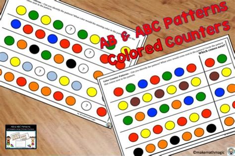 ab abc patterns worksheets  colored counters