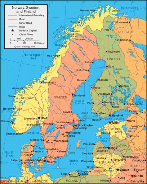 Karte Norwegen Schweden
