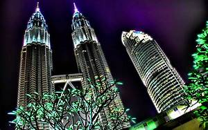 Bright night light from the skyscrapers in Malaysia ...