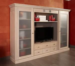 Meuble Tele En Bois : pose porte t l en bois massif meuble de salon contemporain ~ Melissatoandfro.com Idées de Décoration