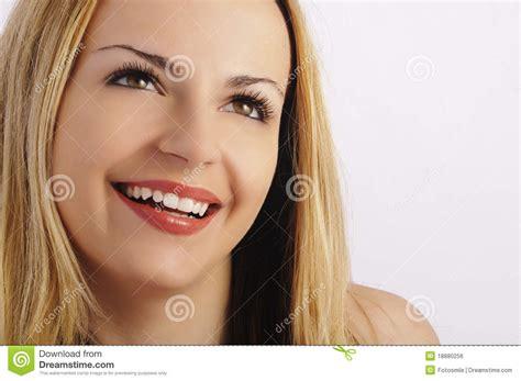 beautiful smile long eyelashes royalty  stock image