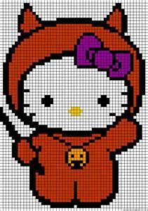 Halloween Hello Kitty Perler Bead Pattern