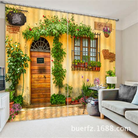 coffee house 3d printing blackout curtains bedding room
