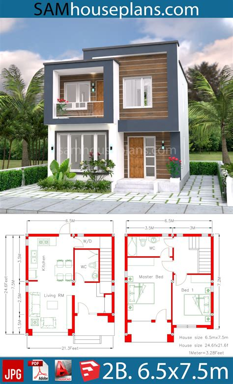 House Plans 6 5x7 5M with 2 Bedrooms House Plans 3d