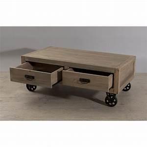 Table Basse Sur Roulette : table basse industrielle sur roulette avec tiroirs orianne ~ Melissatoandfro.com Idées de Décoration