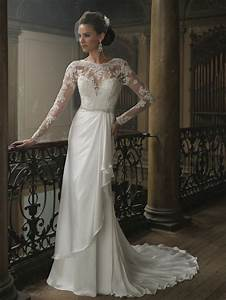 2014 sexy white ivory long sleeve lace bridal gown wedding With long lace wedding dress