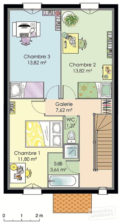 plan maison à étage 3 chambres plan maison etage 50m2