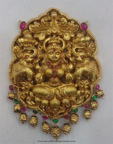 gold lakshmi pendant from vijay jewellers temple jewellery design and jewellery