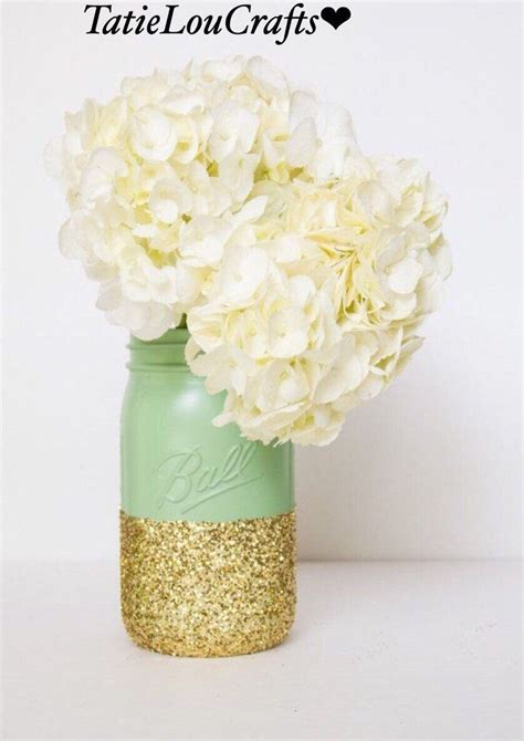 Set Of 4 Mint Green And Gold Quart Size Mason Jars