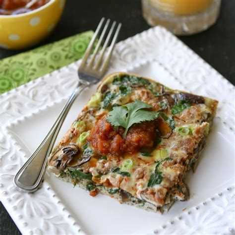 baked breakfast casserole baked egg breakfast casserole with mushrooms spinach salsa recipe