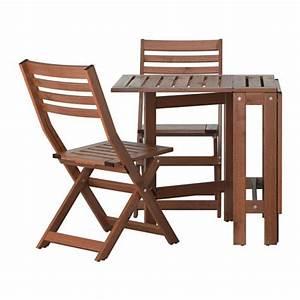 Table De Balcon Ikea : pplar table and 2 folding chairs outdoor pplar brown stained ikea ~ Teatrodelosmanantiales.com Idées de Décoration