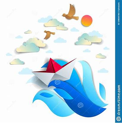 Toy Origami Waves Swimming Ship Ocean Paper