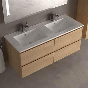 Meuble salle de bain 120 double vasque carrelage salle for Salle de bain design avec meuble sous vasque bois castorama