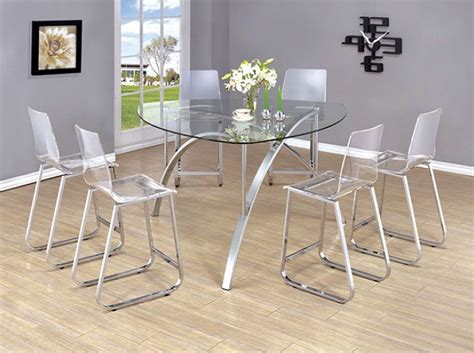 modern counter height table ultra modern zora 7pcs contemporary chrome round counter