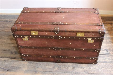 Bespoke Steamer Trunk Coffee Table In Leather Leather
