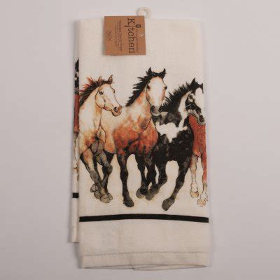 Running Horses Terry Kitchen Towel : Horse Theme Gifts