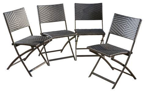 jason outdoor brown wicker folding chair set of 4