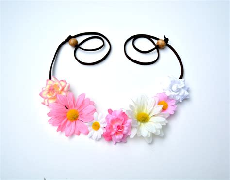 Yellow And Pink Flower Headband Daisy And Rose Flower