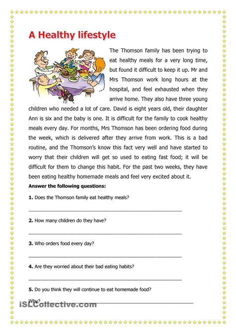 healthy lifestyle  images reading comprehension