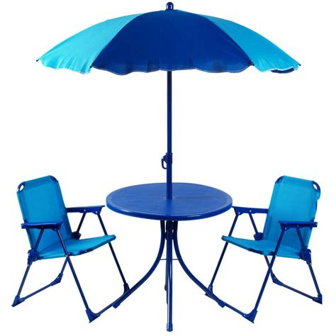 blue outdoor table and chairs kids 4pc garden patio set 2 tone blue table parasol chairs