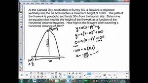 Problems Involving Parabolas